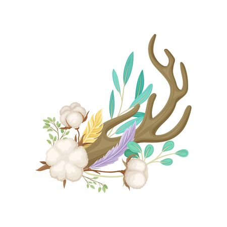 One horn with ripe cotton. Vector illustration on white background.