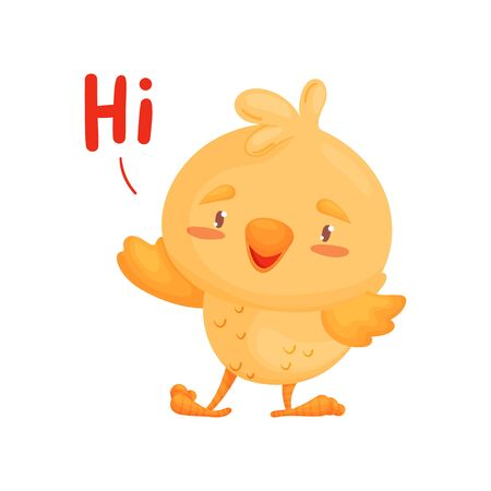 Cute little chick welcomes. Vector illustration on white background. Ilustração