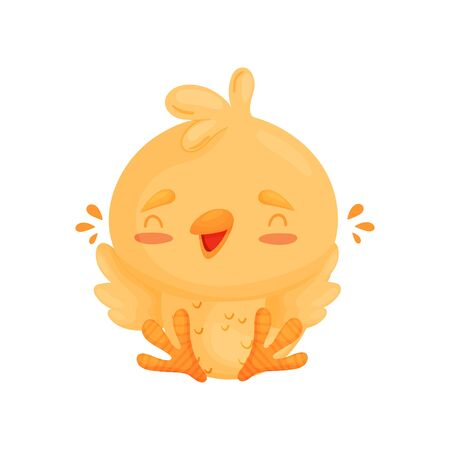 Cartoon cute chicken cheers while sitting. Vector illustration on white background. Ilustração