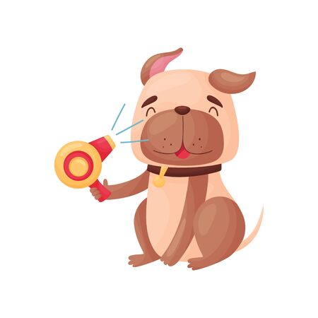 Cartoon dog holding a hairdryer in its paw. Vector illustration on white background. Illustration