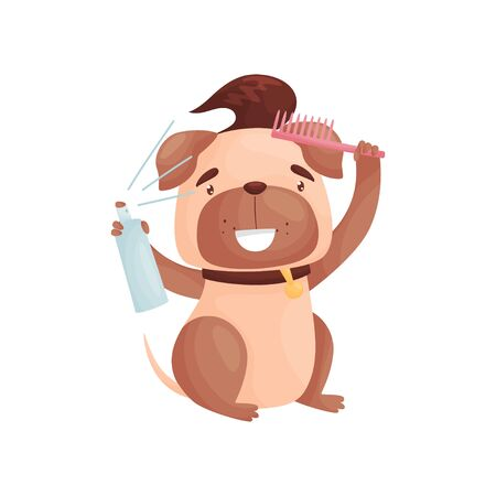 Cartoon pug does his hair. Vector illustration on white background.