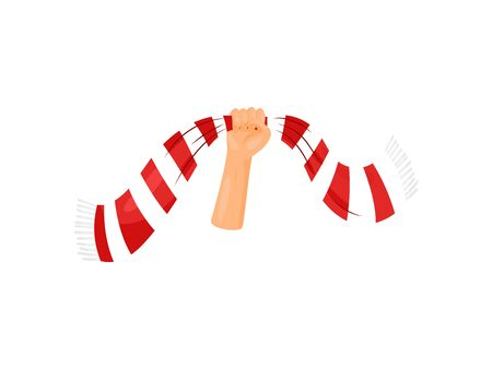 Scarf is raised up with one hand. Vector illustration on white background.