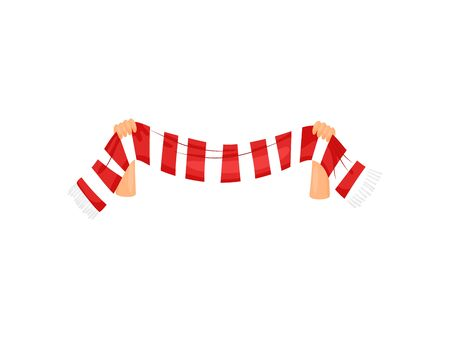 Striped fan scarf in hand. Vector illustration on white background. Иллюстрация