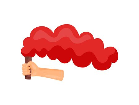 Red smoke in hand. Vector illustration on white background.