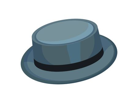 Gray brimmed hat. Vector illustration on white background.