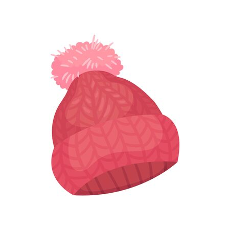 Pink knitted hat. Decorated with a fluffy pompon. Vector illustration on white background. Ilustração Vetorial