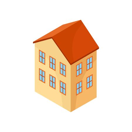 Beige model of a two-story house. Vector illustration on white background.