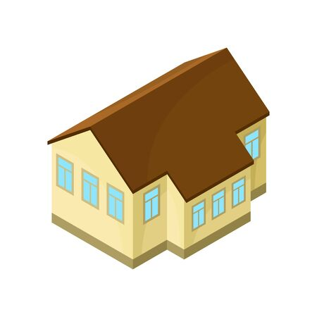 Beige model one-story house. Vector illustration on white background.
