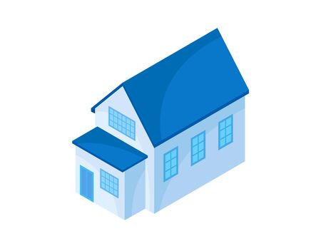 Blue model of a modern house with an extension. Vector illustration on white background.
