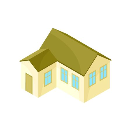 Beige model of a modern house with an extension. Vector illustration on white background.