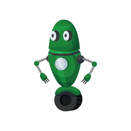 Cute green robot on one big wheel. Vector illustration on white background. Stock Illustratie