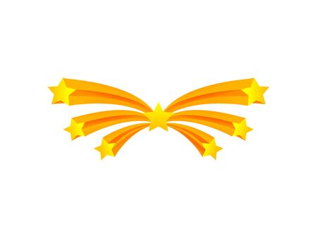 Salute of seven stars flying in an arc. Vector illustration on white background.