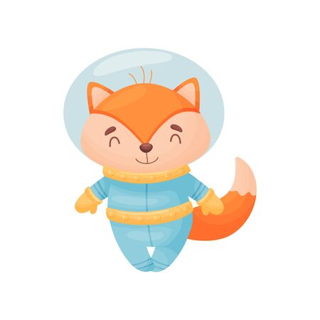 Cute cartoon fox in a blue astronaut costume. Vector illustration on white background.