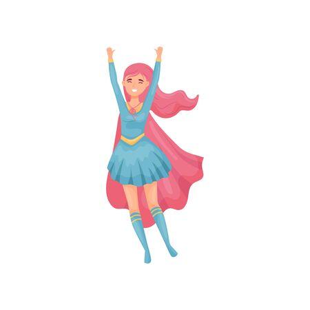 Woman superhero jumping up. Vector illustration on white background. Illustration
