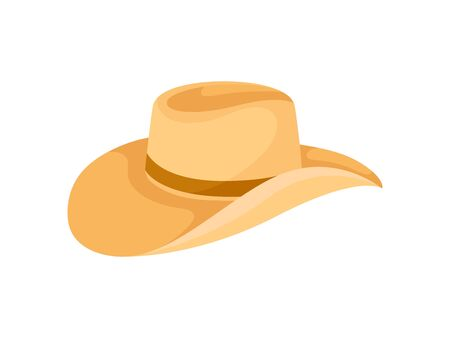 Orange hat with wide curved brim and brown ribbon for men. Vector illustration on white background. Иллюстрация