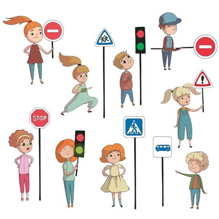 Boys and girls next to the road signs. Vector illustration on white background.