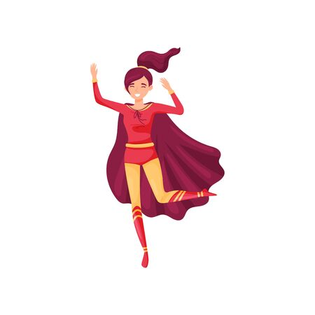 Woman super hero in a red-yellow. Vector illustration on white background. Illustration