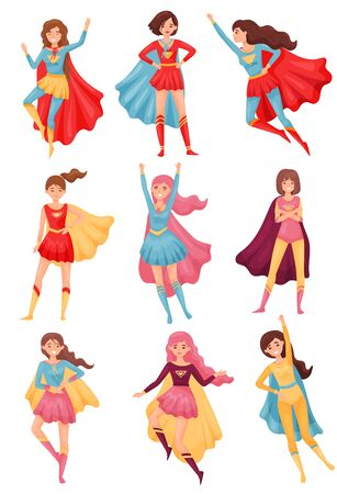 Set of images of women superheroes. Vector illustration on white background.