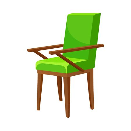 Soft green chair with wooden railing. Vector illustration on white background.