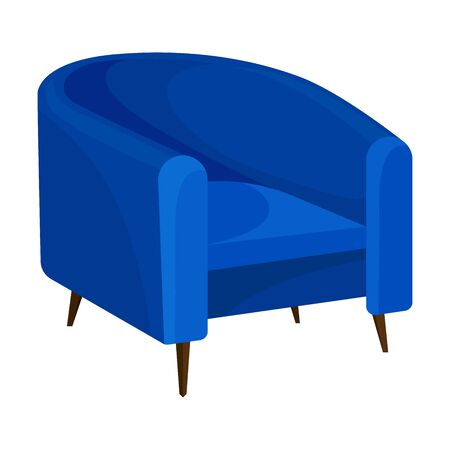 Blue semicircular chair with low legs. Vector illustration on white background.