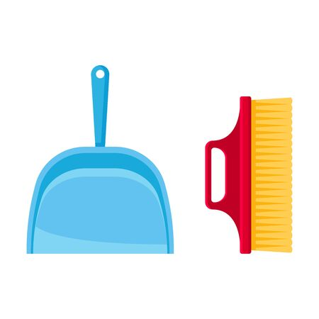 Blue scoop and a small red sweeping brush. Vector illustration on white background.  イラスト・ベクター素材