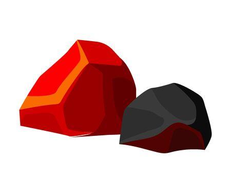 Orange and black coal. Vector illustration on white background.