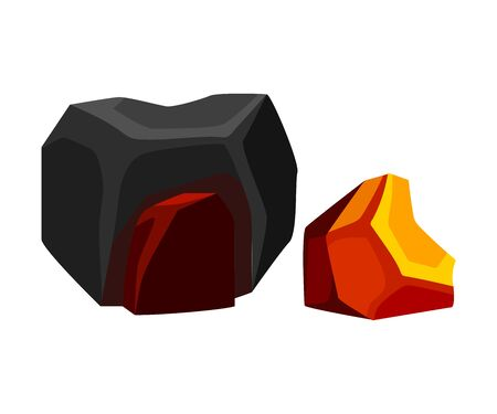 Two different coal. Vector illustration on white background.