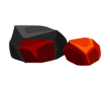 Two cooling coal. Vector illustration on white background.