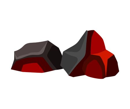 Two cooling black and orange coal. Vector illustration on white background.
