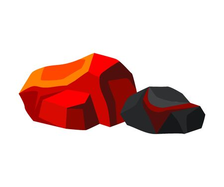 Two orange coal next to black coal. Vector illustration on white background.