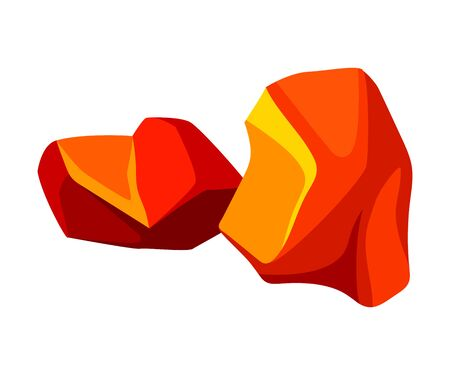 Two fiery coal. Vector illustration on white background.
