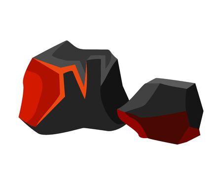 Black-orange embers next to black. Vector illustration on white background.