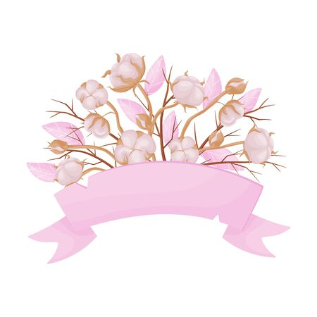 Banner is decorated with a composition of cotton. Vector illustration on white background. Illustration