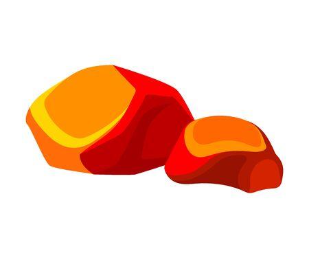 Bright orange coals. Vector illustration on white background.