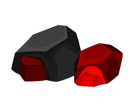 Two hot coal nearby. Vector illustration on white background.