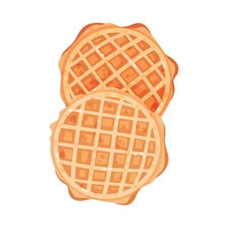 Two round soft waffles with jagged edges. Vector illustration on white background.