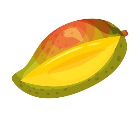 Ripe red green mango notched. Vector illustration on white background.