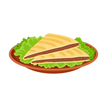 Quesadilla. Traditional mexican dish. Vector illustration on white background.