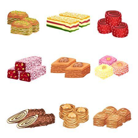 Ensemble d'images de bonbons orientaux. Illustration vectorielle sur fond blanc.