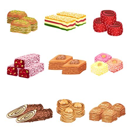 Set of images of oriental sweets. Vector illustration on white background.