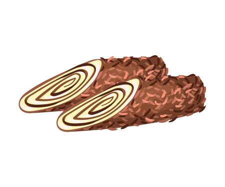 Chocolate rolls. Vector illustration on white background.