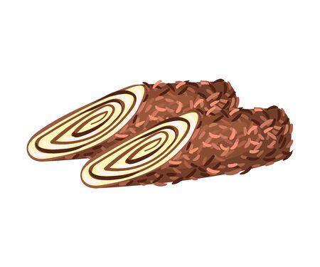Rouleaux de chocolat. Illustration vectorielle sur fond blanc.