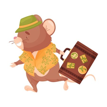 Cartoon mouse with a suitcase. Vector illustration on white background.