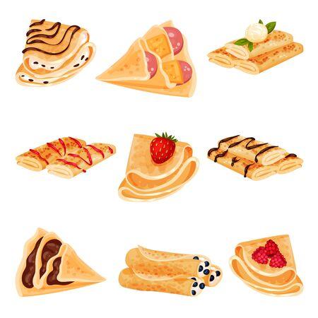 Set of pancakes. Vector illustration on white background. Vector Illustration