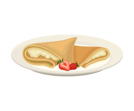 Pancakes with cottage cheese. Vector illustration on white background.