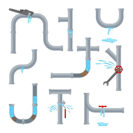 Set of water pipes requiring repair leaks and blockages. Vector illustration on white background.