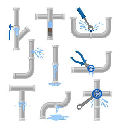Conjunto de tuberías de agua con fugas y obstrucciones. Ilustración vectorial sobre fondo blanco. Ilustración de vector