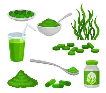 Set of algae products. Vector illustration on white background.