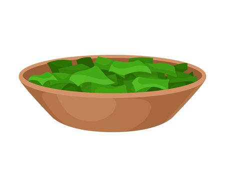 Brown bowl with pieces of green algae Spirulina. Vector illustration on white background.