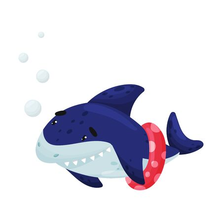 Cartoon shark with a red inflatable circle on the tail. Vector illustration on white background.